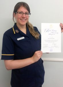 Erin Davis RVN with exam certificate